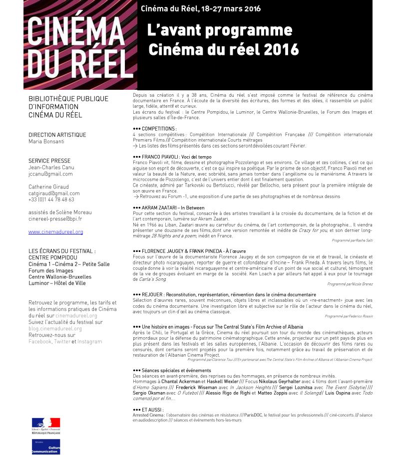 Cin ma du r el 2016 d couvrez l 39 avant programme et le - Cinema les coups angers programme ...